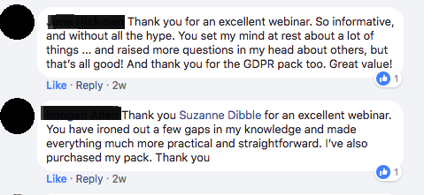 Testimonial 4_GDPR Training Webinar for online business owners